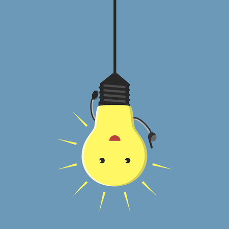 solving: Inspired light bulb character hanging aha moment EPS 10 vector illustration no transparency