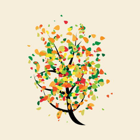 buoyant: Colorful joyful buoyant tree with multicolor leaves. EPS 10 vector illustration no transparency