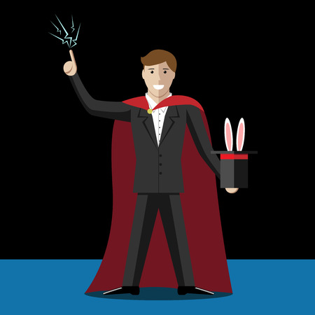 magus: Magician and top hat with rabbit. Magic, trick, deception, cheating, illusion concept. EPS 10 vector illustration, no transparency Illustration