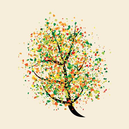 buoyant: Colorful buoyant tree with many small multicolor leaves.  Illustration