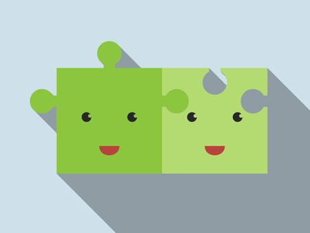 mate married: Two cute green jigsaw puzzle characters connected lying on gray background, long shadows.