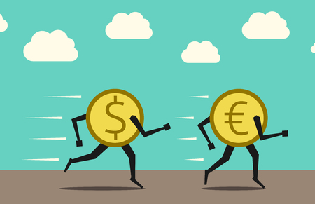 chase: Dollar coin chasing and overtaking euro coin.  vector illustration, no transparency