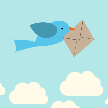 mail: Cute vector bird carrying envelope on sky background with clouds.  vector illustration, no transparency