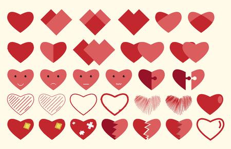 Vector corazones colección. Corazones, caracteres, caras sonrientes, rompecabezas, parcheado, rotos, cosido y dibujadas a mano. ilustración vectorial, no hay transparencia