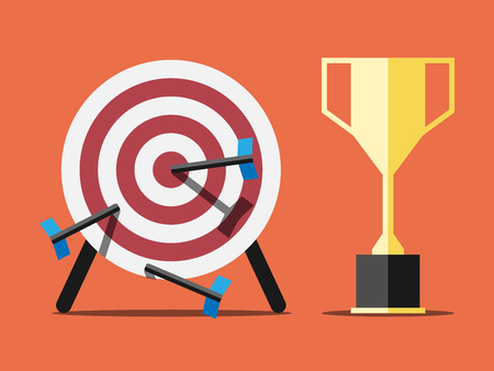 spiked: Target spiked with arrows or darts and golden victory trophy on orange background. Flat style.  vector illustration, transparency used Illustration