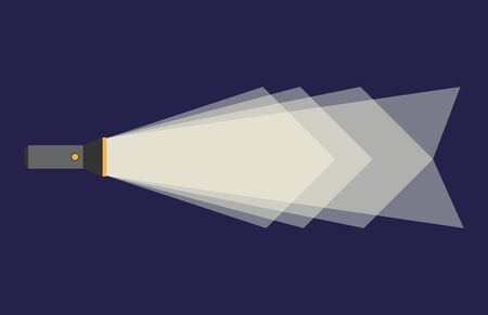 torch: Glowing flashlight or pocket torch in darkness with polygonal beam of light on blue background. Flat style.  vector illustration, transparency used Illustration
