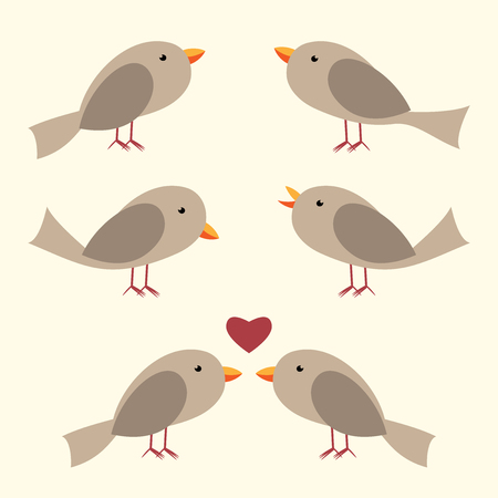 perched: Cute vector birds set. Perched, singing, couple with heart. Flat style. vector illustration, no transparency