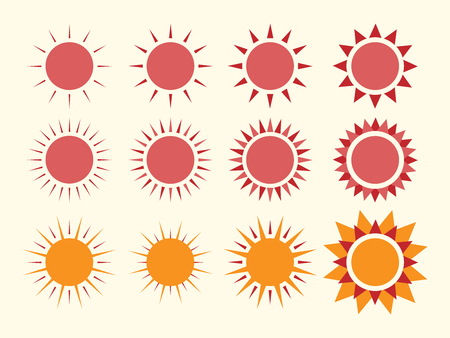 suns: Vector suns collection.  vector illustration, no transparency Illustration