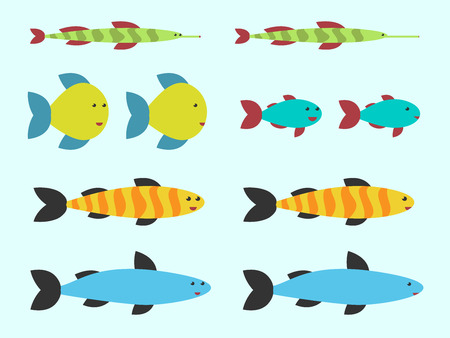 anthropomorphous: Cute vector fishes set on light blue background. Flat style.   vector illustration, no transparency