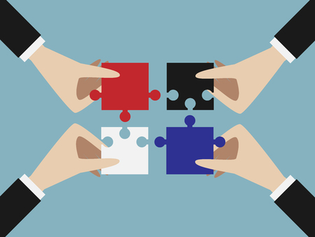 Four hands putting multicolor jigsaw puzzle pieces together. Teamwork, solution, unity, partnership concept. EPS 10 vector illustration, no transparency