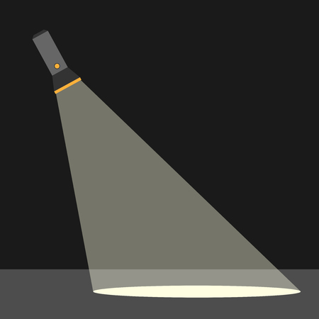 pocket flashlight: Flashlight or pocket torch in darkness illuminating ground. Search, investigation and criminality concept. Flat style. EPS 10 vector illustration, transparency used
