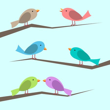 Cute multicolor vector birds perched on branches set. Perched, singing and couple looking at each other. Flat style. EPS 10 vector illustration, no transparency