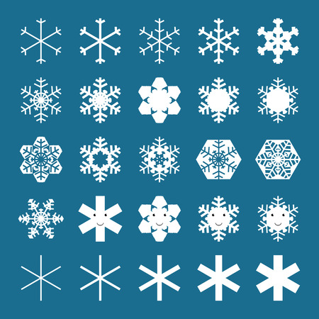 fractals: Snowflakes and snowflakes characters collection. EPS 10 vector illustration, no transparency