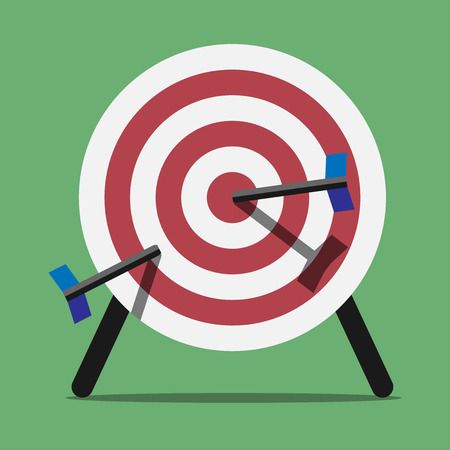 spiked: Target spiked with arrows or darts standing on green background. Flat style. EPS 10 vector illustration, transparency used