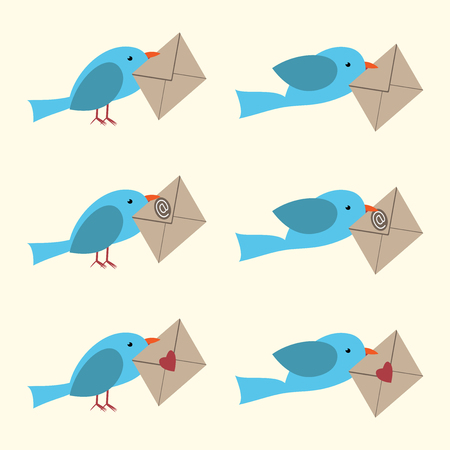 blue bird: Cute vector bird carrying envelope set. E-mail, love, Valentines day. EPS 10 vector illustration, no transparency