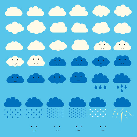 thunder and lightning: Clouds with rain, snow, thunder, lightning and faces collection. EPS 10 vector illustration, no transparency Illustration