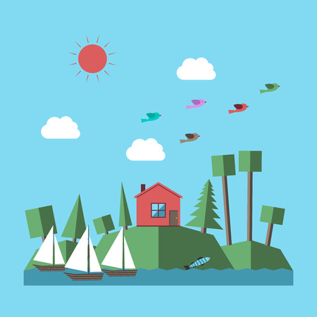 sailingboat: Landscape with small house in forest, green hills, various trees, river, sailing-boats, fish, clouds, sun and birds. Flat style. vector illustration, no transparency