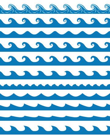 oceano: Conjunto de 13 azules ondas transparentes patrones aislados en blanco. ilustración vectorial, no hay transparencia