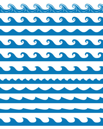 wave design: Set of 13 blue seamless waves patterns isolated on white. vector illustration, no transparency