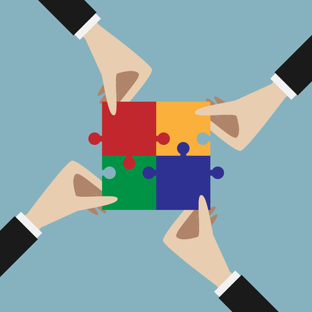 four hands: Four hands holding assembled multicolor jigsaw puzzle. Teamwork, solution, unity, partnership concept. EPS 10 vector illustration, no transparency Illustration