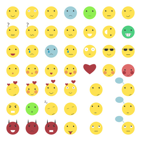 Set of 46 smile icons isolated on white. Collection of smiley faces. Emoticons.  vector illustration, no transparency Vettoriali