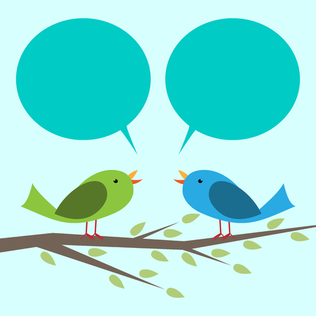 communicating: Two cute vector birds perched on branch communicating with each other. Place for your text, copy space. vector illustration, no transparency