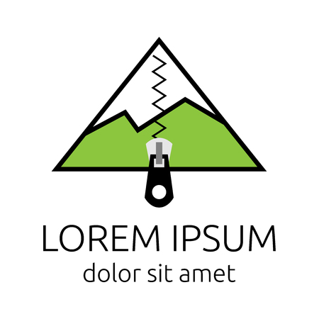 alpinism: Mountain or tent with zip fastener logo template. Tourism, hiking, alpinism, mountaineering and travel concept. EPS 10 vector illustration, no transparency