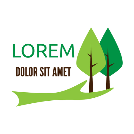 green hand: Green hand holding two trees logo template