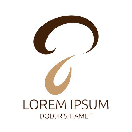 Stylish mushroom symbol or logo template