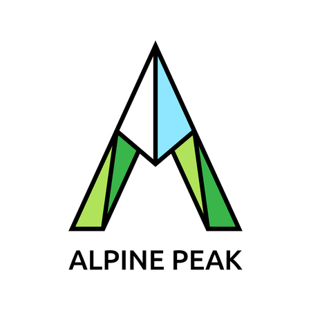 Letter A gestileerd als berg logo template. Toerisme, wandelen, alpinisme, bergbeklimmen en reizen concept. EPS 10 vector illustratie, geen transparantie