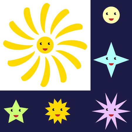 zon en maan: Sun, Moon and star characters.