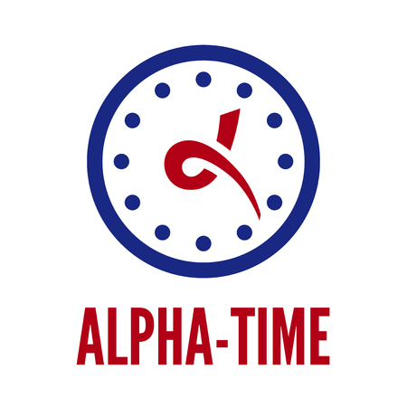 alpha: Letter alpha stylized as hands of clock