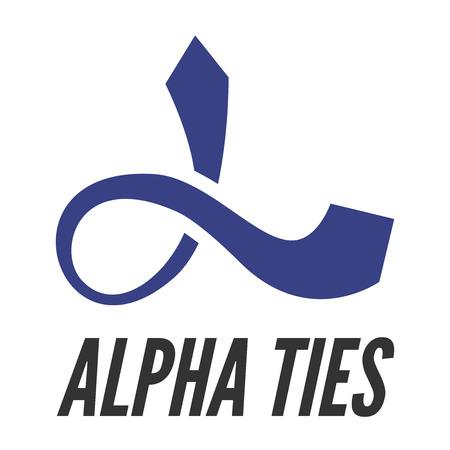 alpha: Alpha letter stylized as tie   template.  Illustration