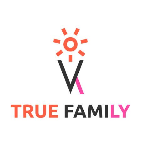 iluminados: Familia abstracta estilizada o pareja metáfora, logotipo de la plantilla. EPS 10 ilustración vectorial, no hay transparencia