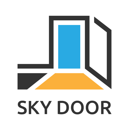 Abstract stylized door to sky logo template. EPS 10 vector illustration, no transparency