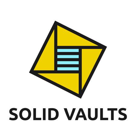 logotipo de construccion: Modelo abstracto del logotipo de bóveda. EPS 10 ilustración vectorial, no hay transparencia