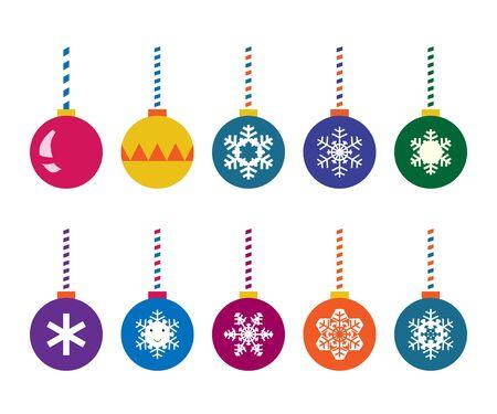 크리스마스 공을 설정합니다. 여러 가지 빛깔의, 눈송이 및 디자인. 벡터 일러스트 레이 션, 투명도