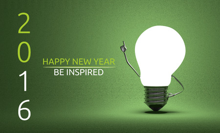 aha: Happy New Year 2016 and be inspired greeting card, light bulb character in aha moment on green background Stock Photo