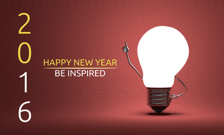 aha: Happy New Year 2016 and be inspired greeting card, light bulb character in aha moment on red background