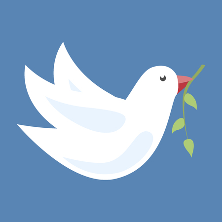 beak: White dove in flight with green olive branch in its beak on blue background. vector illustration, no transparency Illustration