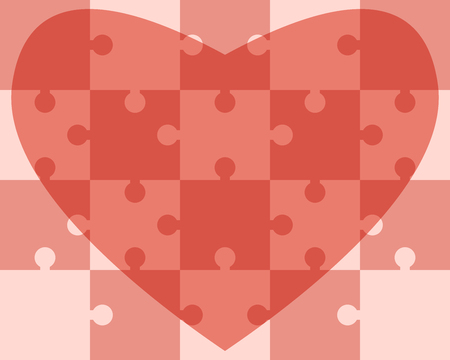 assembled: Heart assembled of puzzle pieces. vector illustration, no transparency