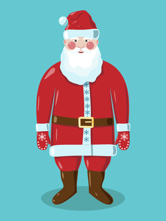 moroz: Santa Claus in red clothes in mittens with snowflakes and brown belt with golden buckle standing on green background. vector illustration, no transparency