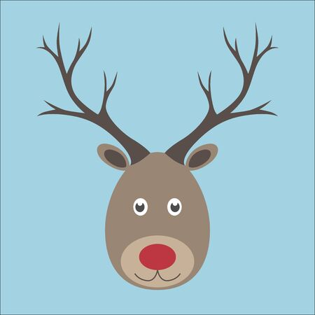 red nose: Christmas reindeer. Head with red nose on blue background. EPS 8 vector illustration, no transparency Illustration