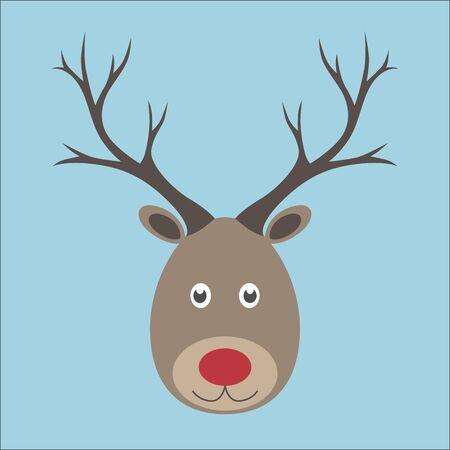 reno: Reno de la Navidad. La cabeza con la nariz roja sobre fondo azul. EPS 8 vector ilustraci�n, sin transparencia Vectores