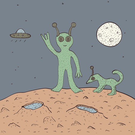 horny: Funny smiling green alien with his pet on red planet with craters on sky background with Moon and flying saucer. vector illustration, no transparency