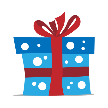 blue gift box: Blue gift box with white polka dots and red bow isolated on white with drop shadow