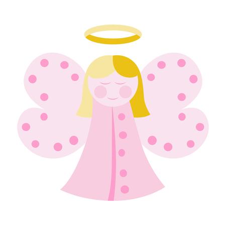 흰색으로 격리 분홍색 옷을 입고 귀여운 천사입니다. 벡터 일러스트 레이 션, 투명도