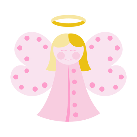 girl sleep: Cute angel in pink clothes isolated on white. vector illustration, no transparency