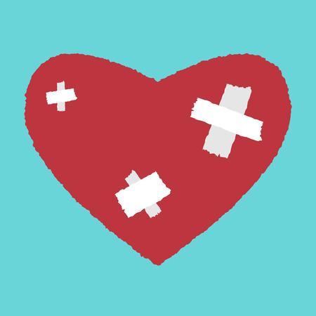 white patches: Red heart with white patches. Medicine, health care, relationship, love concept. vector illustration, no transparency
