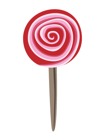 lollipop: Red, pink and white round spiral candy. Beautiful strawberry, raspberry or cherry lollipop. EPS 8 vector illustration, no transparency